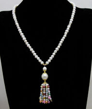 Natural 6-7mm White Round Pearl with multicolor Pearl pendant 20'' necklace-6439