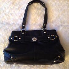 Coach Carly Handbag Black Leather Shoulder Bag Satchel Zip~J0873-13236 ~Medium