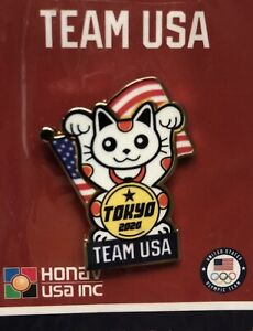 Tokyo 2020 2021 Summer Olympics Pin Lucky Cat Team USA NOC