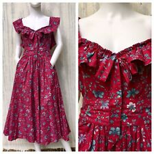 Vintage LAURA ASHLEY Dress 80s Red Ruffle Maxi Floral Cocktail Garden Party XS