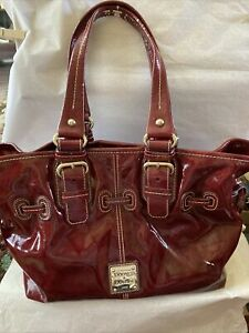 Dooney & Bourke Rare Vintage CranbeRry Patent Leather Flap Hobo Shoulder Bag