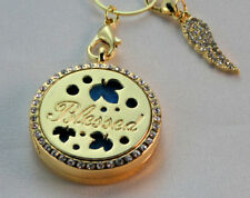 Blessed double sided, Diffuser Necklace Locket Stainless Still 10ml Oil 11 pads
