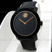 Men's Movado BOLD Copper Brown Black Dial Leather Swiss Watch 3600297