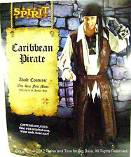 CARIBBEAN PIRATE HALLOWEEN COSTUME MEN'S One Size Up to 44 Pirates Mens L New I
