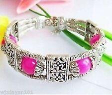 Tibet Silver Asian pink jade beads Bracelet