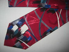 Mens Red Blue Gray Green Print Tie Necktie (3816)