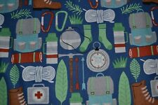 Vacation Fabric Camping Road Trip Word Patch Beige Clothworks YARD