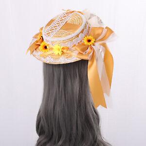 Lolita Girls Straw Hat Tea Pastoral Cap Women Hat with Yellow Floral Aternoon