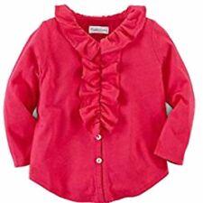 Ralph Lauren Baby Mädchen Bluse Top langarm Pink mit Rüschen Kragen Polo 68 74