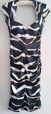CACHE Dress Open Back Bodycon Black/White/Gold 100% Silk Size 2 Pre-Owned