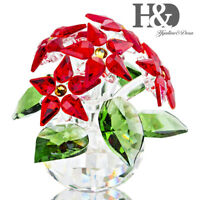 Crystal Poinsettia Large Flower Figurine Paperweight Wedding Holiday Ornaments