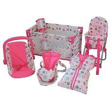 SUN Puppenzubehör-Set 5tlg. pink-grau mit Reisebett, Bauchtrage, Autoschale