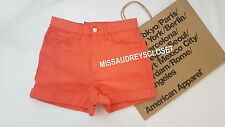 NEW AMERICAN APPAREL JEANS DENIM HIGH-WAIST CUFF SHORTS RSADM303 WATERMELON 26