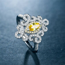 Marquise Cut Citrine 925 Silver Wedding Engagement Ring Pretty Ring Size 10