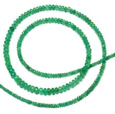 Natural Gem Fine Quality Colombian Emerald 2 to 5MM Rondelle Beads Necklace 20""
