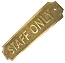 RETRO STAFF ONLY SIGN ANTIQUE STYLE BRASS CAFE PLAQUE STAFF ROOM WITH SCREWS