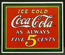 """Dollhouse Miniatures Metal Sign Advertising Ice Cold Coca Cola 2 1/8"""" x 1 3/4"""""""