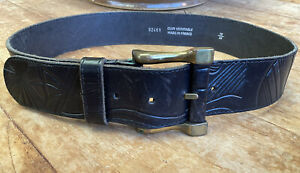 Made In France Black Genuine Leather Womens Pattern Print Belt Size 30 / 75 EUC