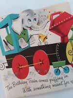 UNUSED Vtg CHEW CHEW TRAIN w CHICLETS Box of GUM BIRTHDAY GREETING CARD w Env