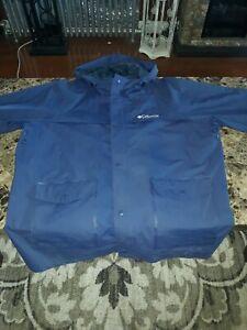 Columbia Mens XL  Navy Button Up Rain Coat Jacket