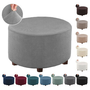 Round Ottoman Slipcover Footstool Protector Covers Storage Ottoman Cover Stretch