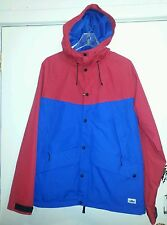 "PENFIELD MENS ""CLARKDALE"" 2 TONE HOODED RAIN JACKET RED/COBALT SIZE: L"