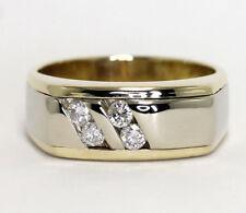 Mens diamond ring 14K 2 tone gold 4 round brilliants channel set .25CT sz 9 1/4