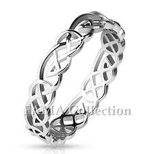 Elegant FAMA Rhodium Plated Brass Tribal Knots Ring Select Size