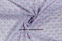 White Pink Cotton Floral Hand Block Print Dressmaking Sewing Fabric By 10 Yard