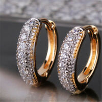 Vintage Ring Hoop Gold 18K White Gold Filled Paved Diamond Women Lady Earrings