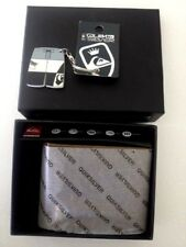 BRAND NEW IN BOX QUIKSILVER MENS THE STASH LEATHER WALLET & BONUS KEY RING