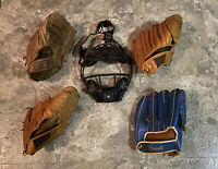 Lot of Vintage Baseball Gloves and Catcher's Mask - Grant - Winston