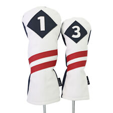 Majek Retro Golf 1 & 3 Driver & Wood Headcover White Red Stripe Leather Style