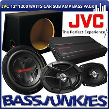 "JVC 12"" 1200 Watts Sub &  Bass Box 4 Channel Amplifier 6x9 Car Speakers Amp Kit"