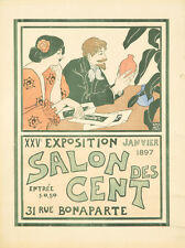 Original Vintage Poster Salon des Cent 1897 Andrew Womrath Art Nouveua Paris Red