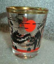 vintage shot glass black cat fight