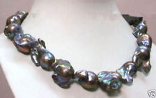 """CLASSIC REAL HUGE AAA SOUTH SEA BAROQUE BLACK PEARL NECKLACE 18"""" 14K"""
