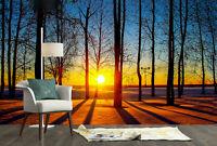 3D Winter Sunset Trees Silhouettes Living Room Wallpaper Wall Murals Home Decor