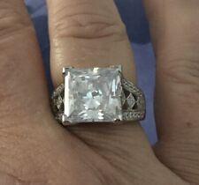 Diamonique Square Cut Sterling Silver Ring 7