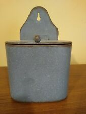 Wall Hanging Match Safe Holder Gray Metal with lid