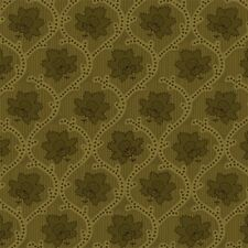 Elementary Collection, Olive Green Medallion Floral, Studio E  (By 1/2 yd)