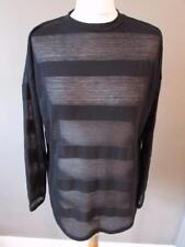 NEXT Ladies Black Fine Knit Semi Sheer Striped Top Sweater Size 10 PETITE BNWT