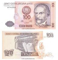 Peru 100 Intis 1987  P-133 Banknotes UNC