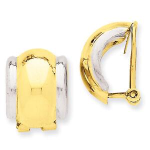 14k Two-tone Gold Omega Clip Non-pierced Earrings H875