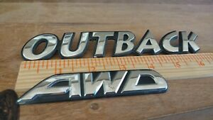 2000-2004 Subaru Outback AWD  Rear Trunk Emblem Logo Nameplate  Set OEM