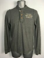 MENS HOLLISTER GREY LONG SLEEVE 1/4 BUTTON CASUAL T-SHIRT TOP SIZE S SMALL