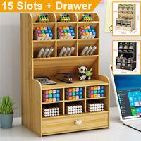 Wooden Organizer Shelf Rack Desk Pen Makeup Holder Storage Case Pencil Box