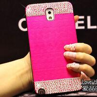 DIY Metal ALUMINUM Bling Crystal Brushed PC Back Case Cover for Samsung Phones