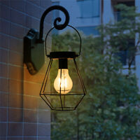 Solar Hanging Lights Retro Metal Lantern Lamp Outdoor Garden Yard Decor Patio