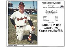 """Earl Weaver - Manager Baltimore Orioles - Hall of Fame Supercard 8"""" x 10"""""""